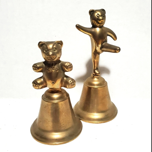 Vintage Brass Teddy Bear Bells Set of 2